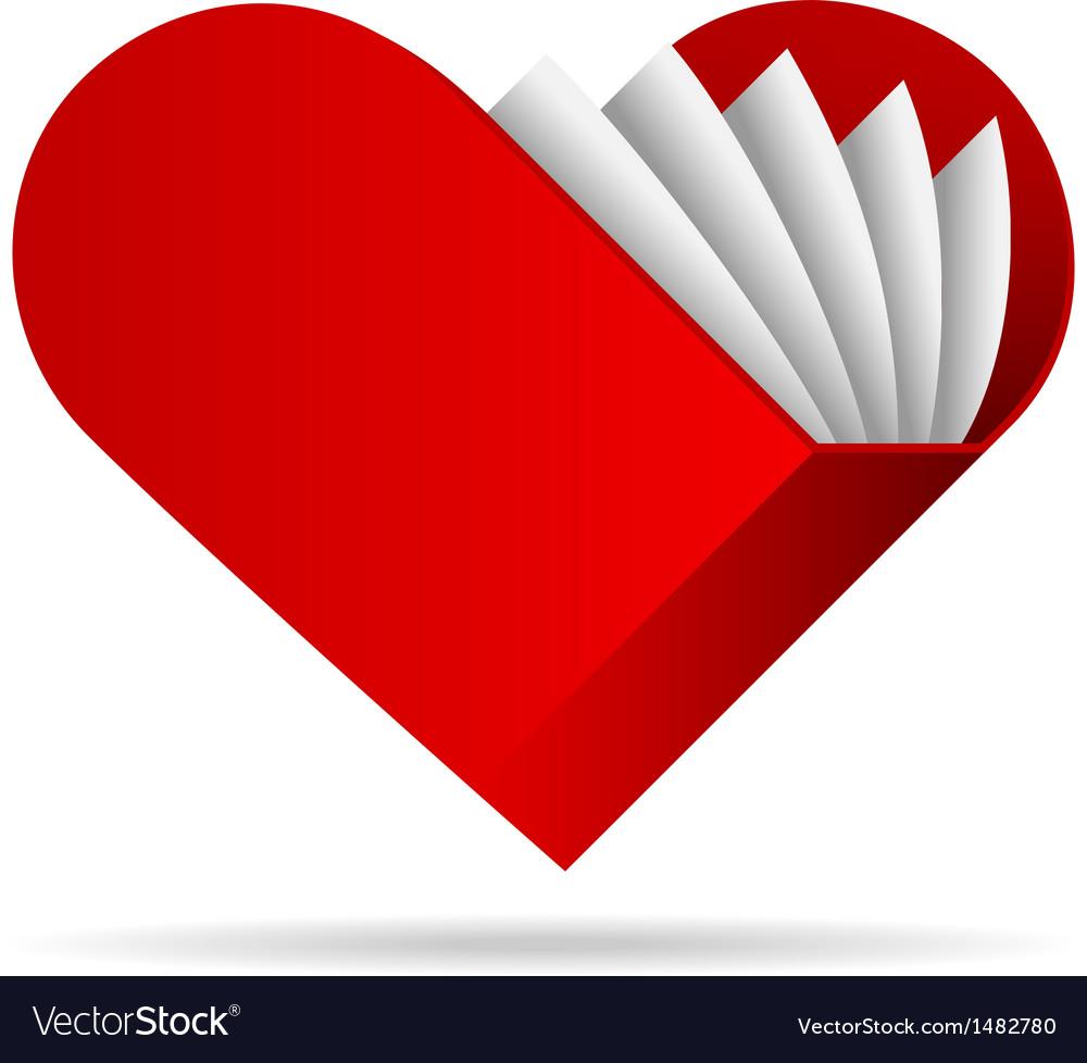 Book shape heart icon
