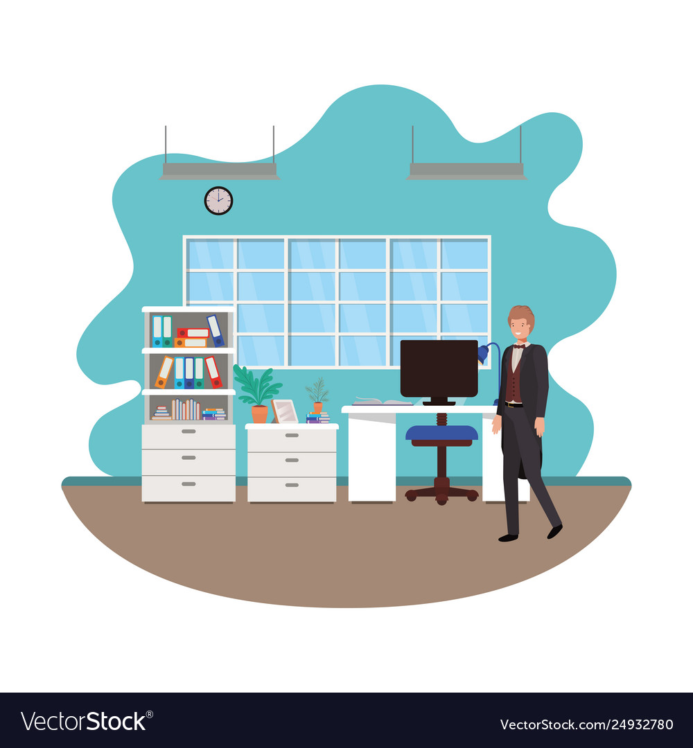 Businessman in work office avatar character