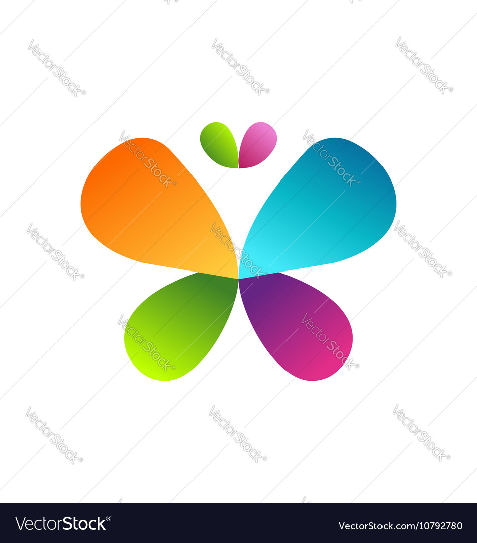 Butterfly logo beauty colors butterfly symbol icon vector image