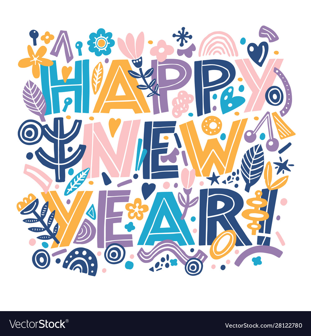 Happy new year banner in hand drawning typography