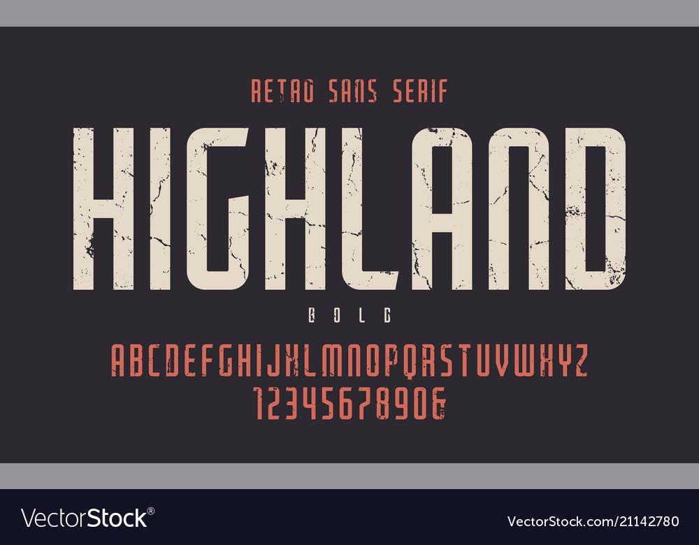 Highland condensed bold retro typeface