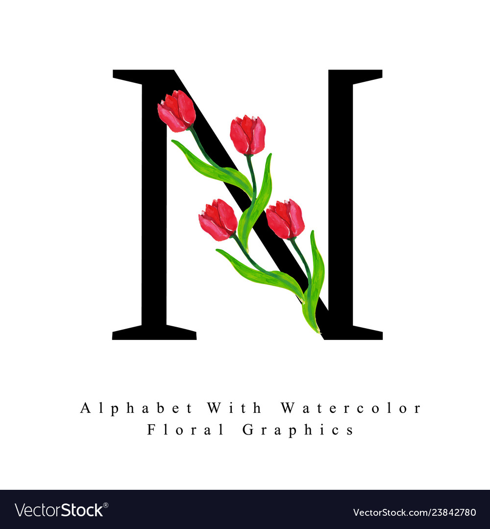 Letter n watercolor floral background