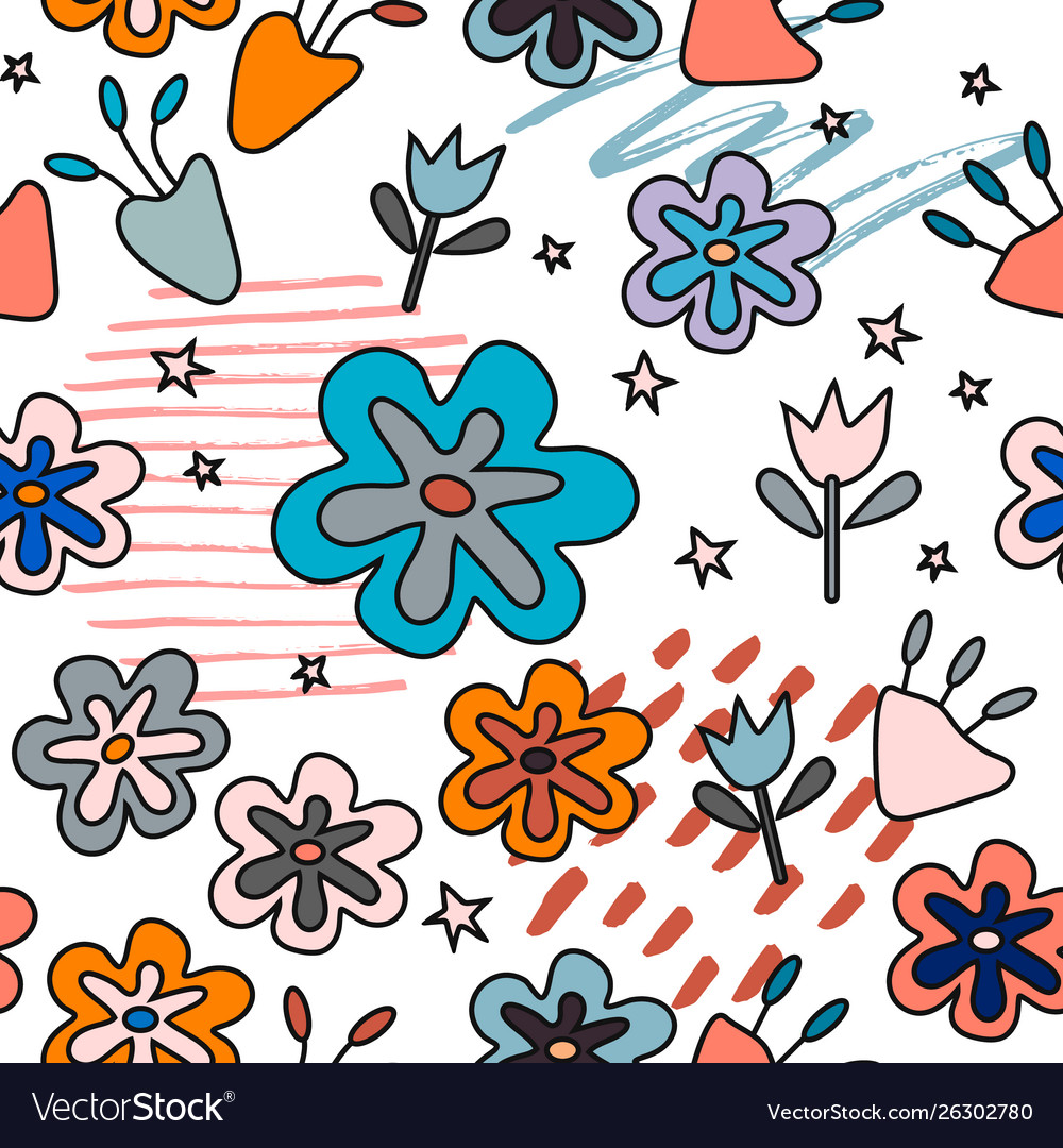 Seamless pattern with abstract flowers creative
