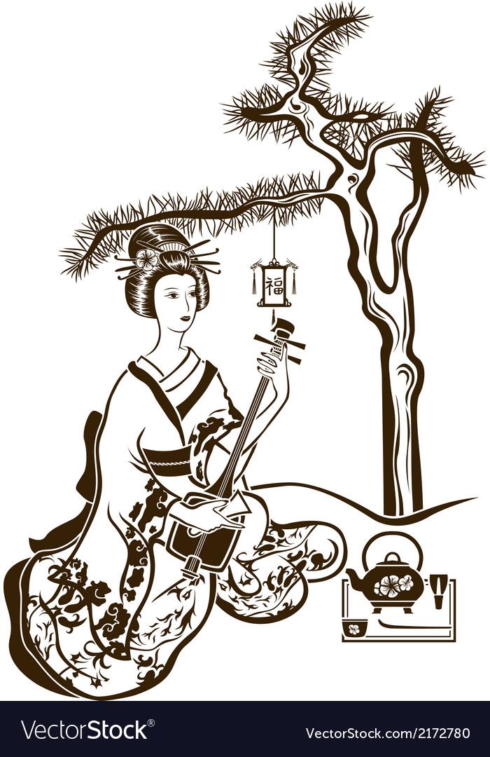 Traditional Japanese Geisha with Shamisen