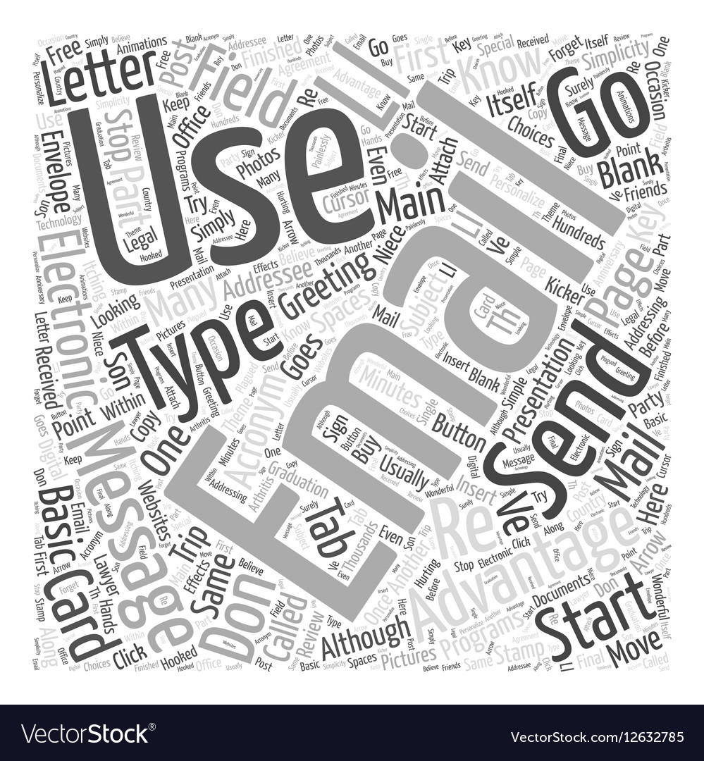 Advantages of email Word Cloud Concept vector image