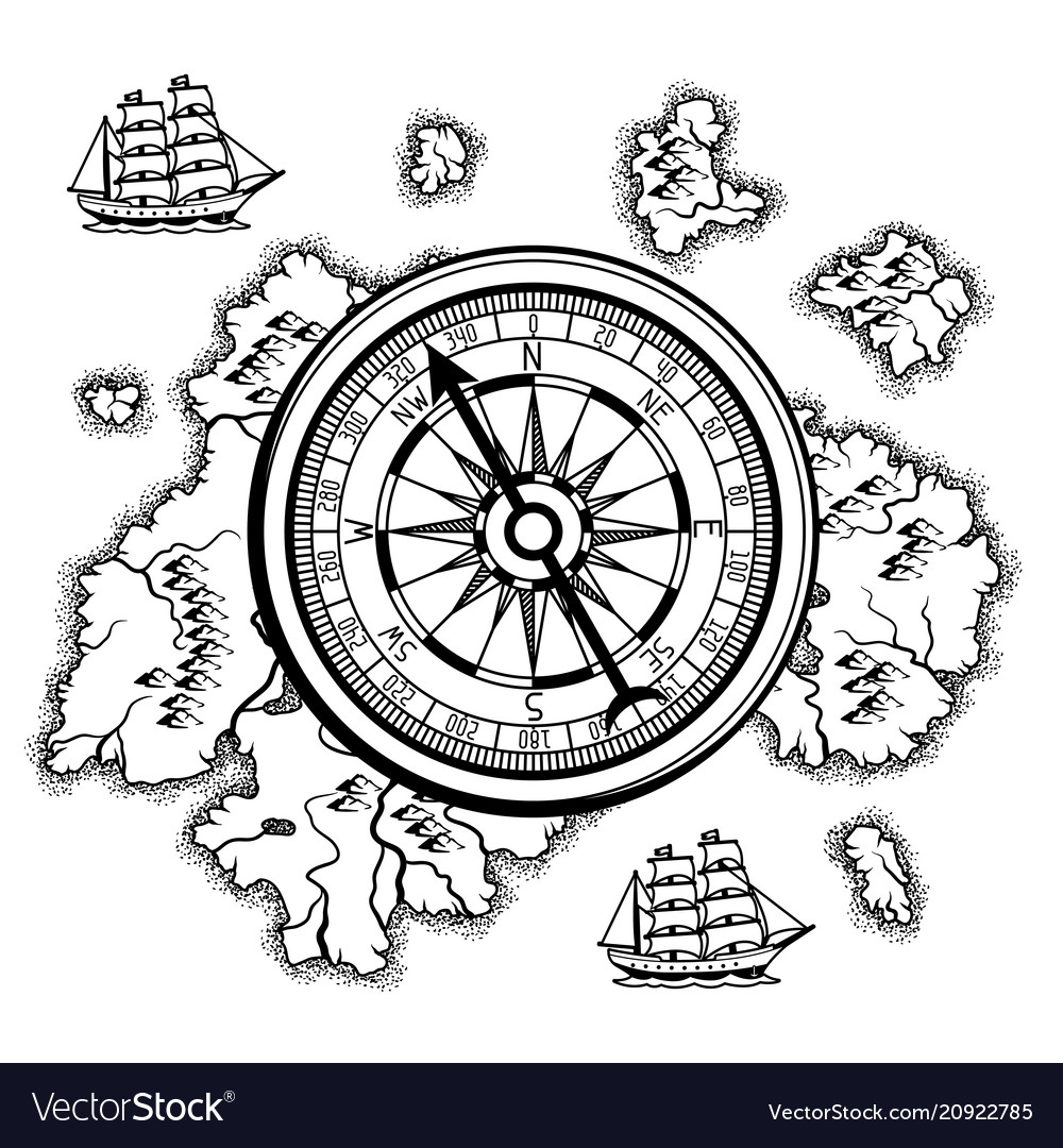Background with old nautical map