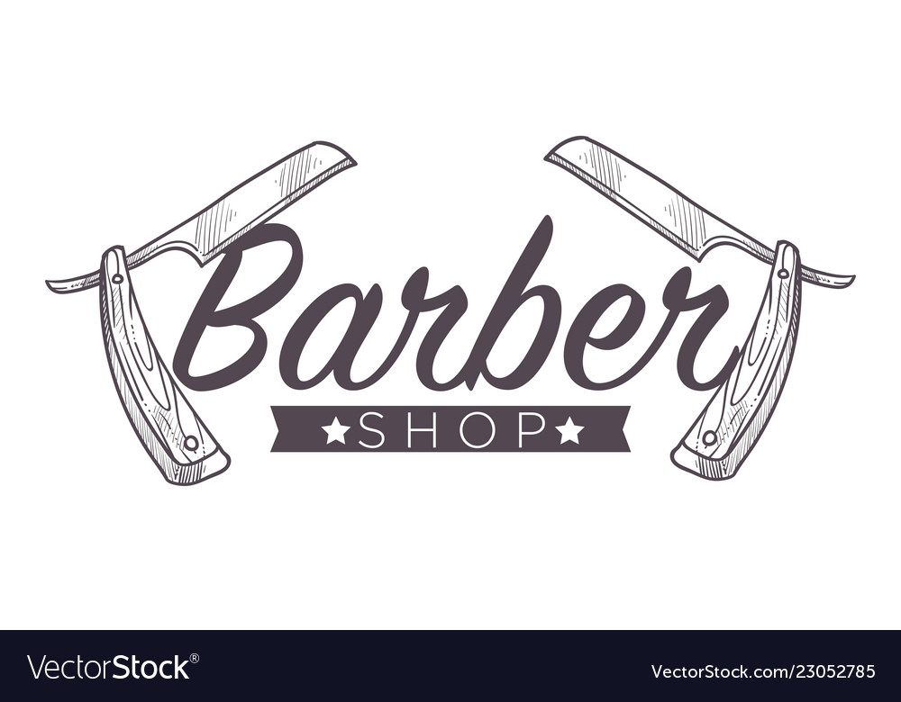 Barber shop label isolated monochrome sketch