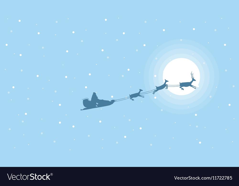 Beautiful landscape train santa on the sky vector image
