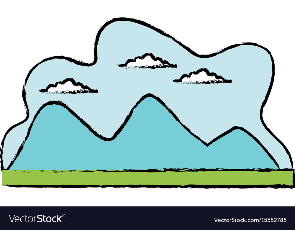 Cartoon mountain meadow cloud landscape