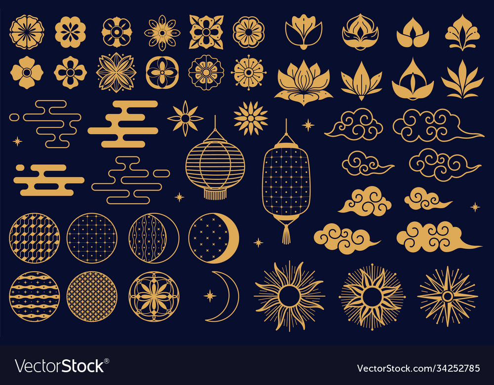 Chinese elements asian new year gold decorative
