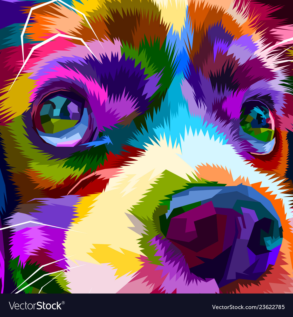 Close up of colorful cute dog