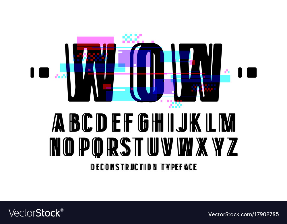 Decorative sanserif font with glitch distortion