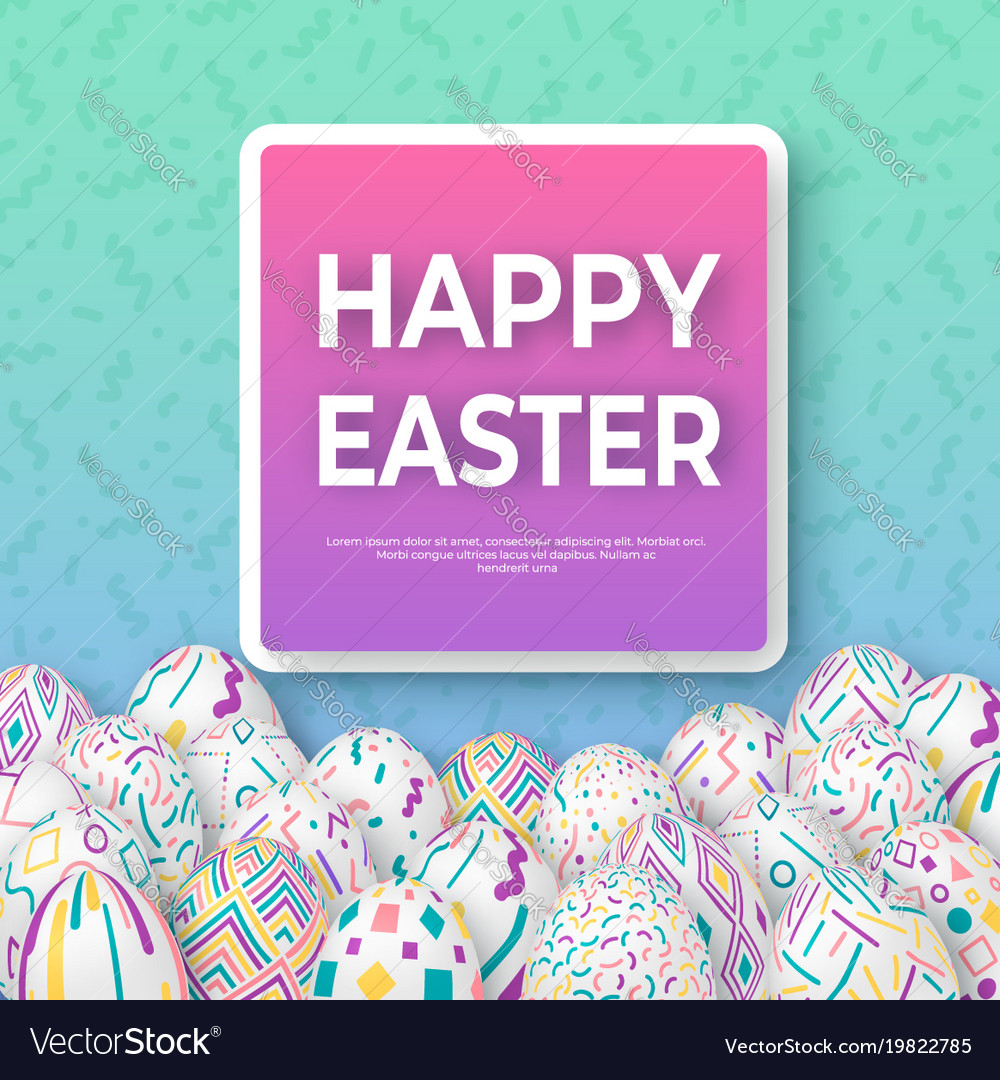 Easter background with 3d ornate eggs on green