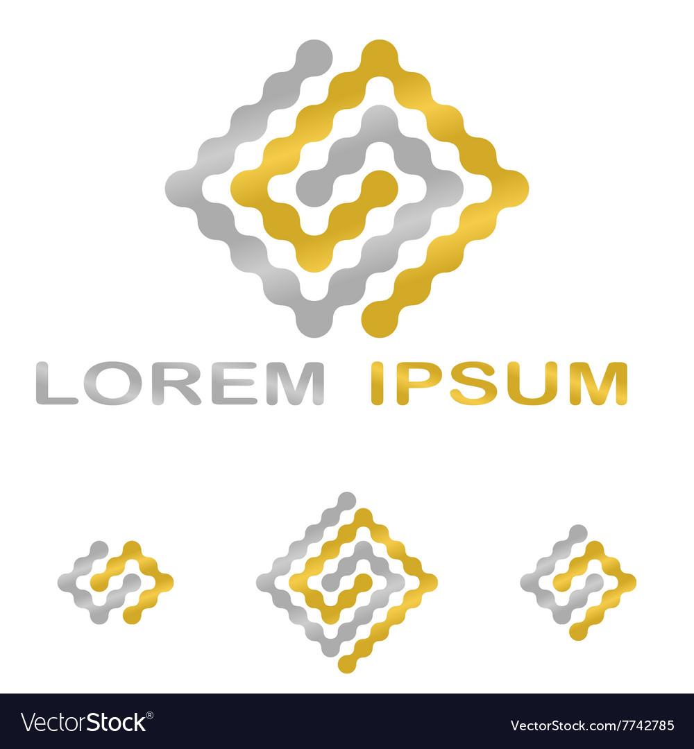 Golden Silver Technology Company Symbol Set Vector Image