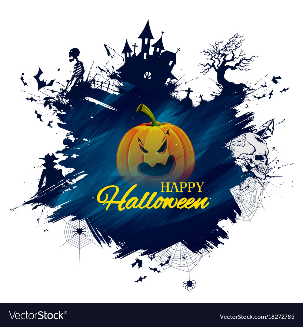 Happy halloween holiday night celebration vector image