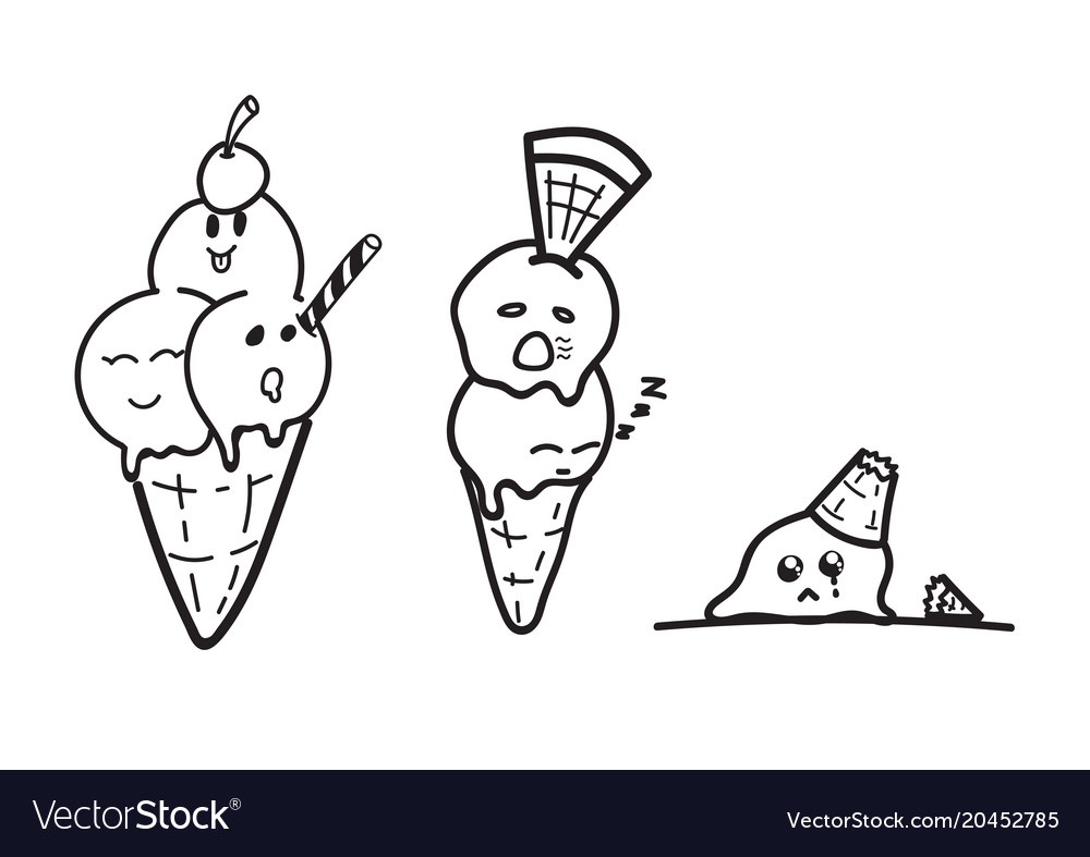 Ice Cream Cartoon Drawing Doodle Royalty Free Vector Image