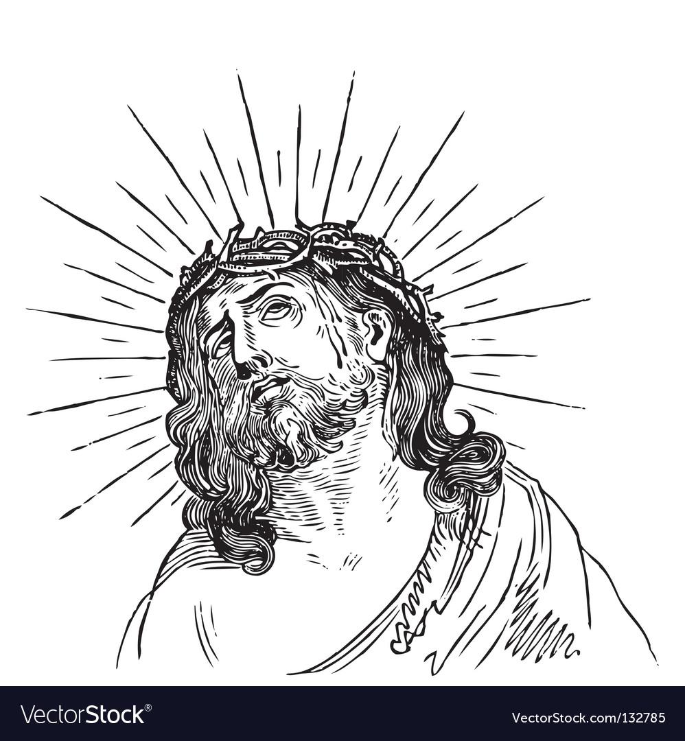 Jesus Christ engraving vector image