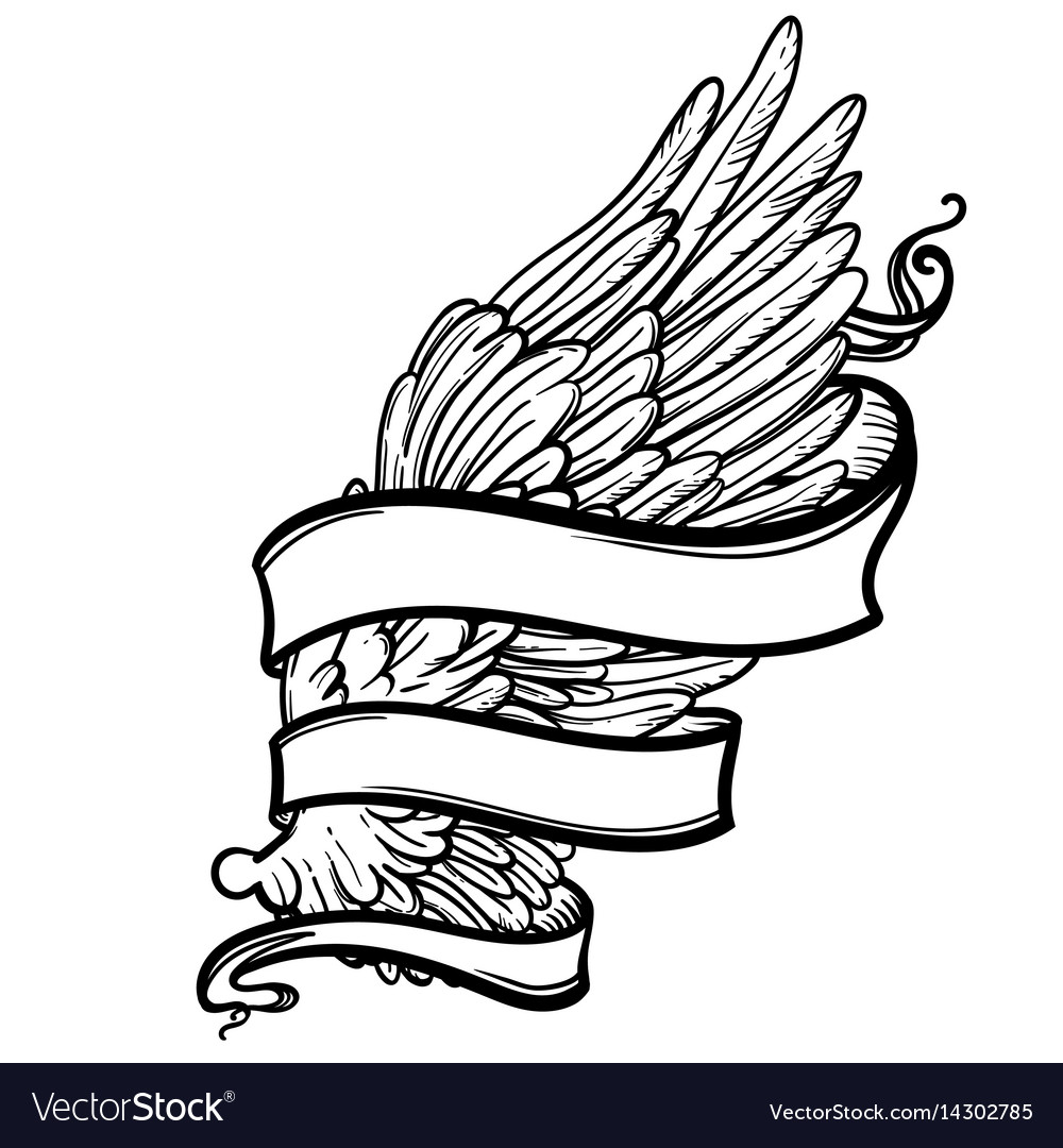 Line art of angel wing and ribbon vector image