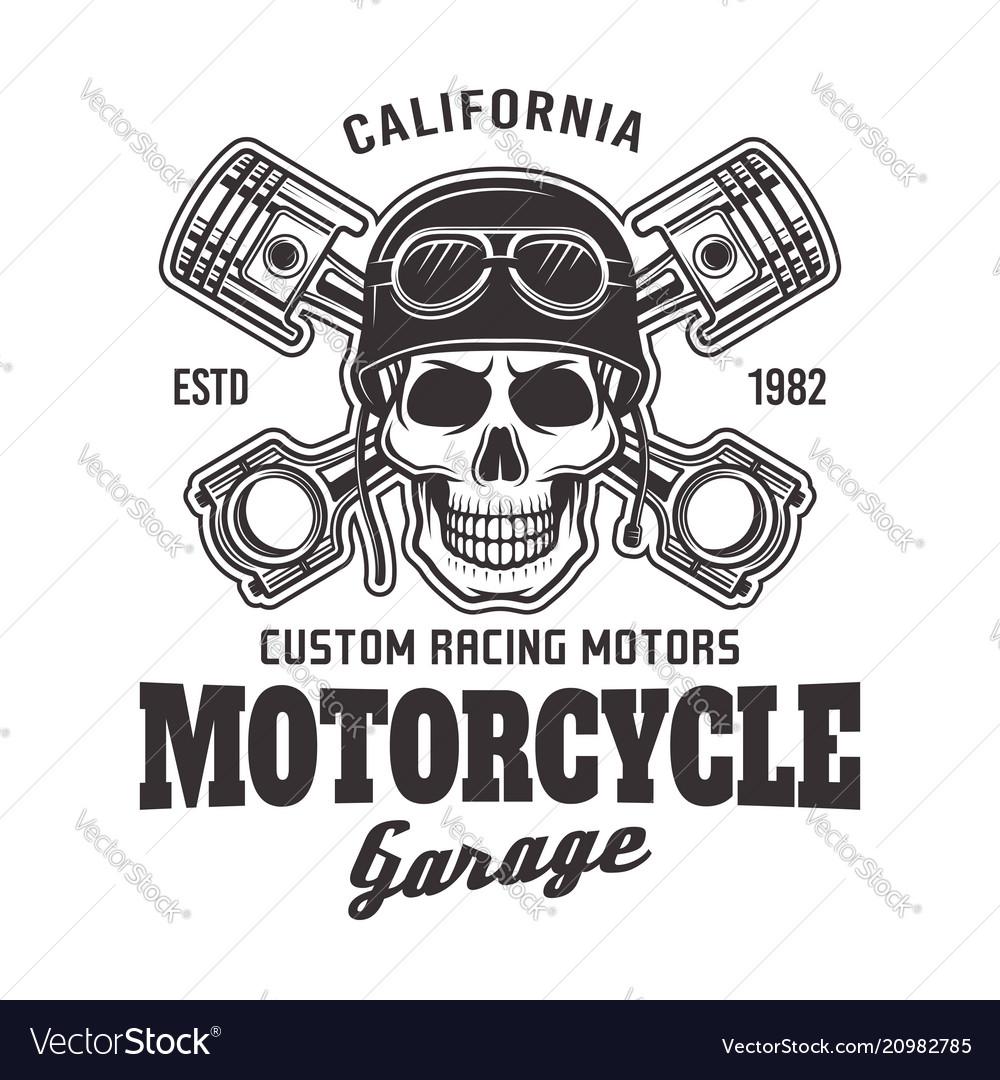 Motorcycle garage biker emblem with skull