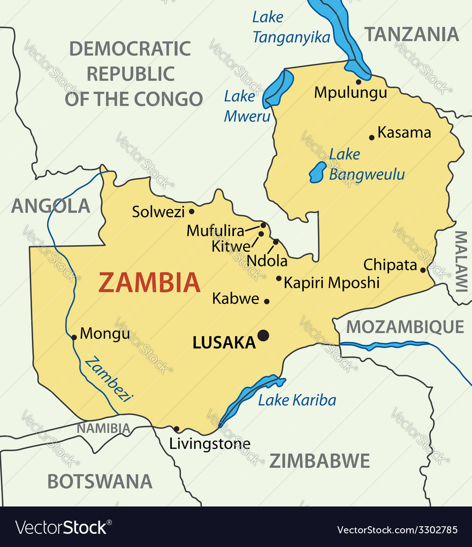 Republic of Zambia map Royalty Free Vector Image