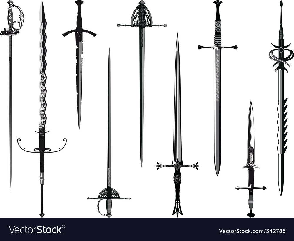 Silhouette collection of swords