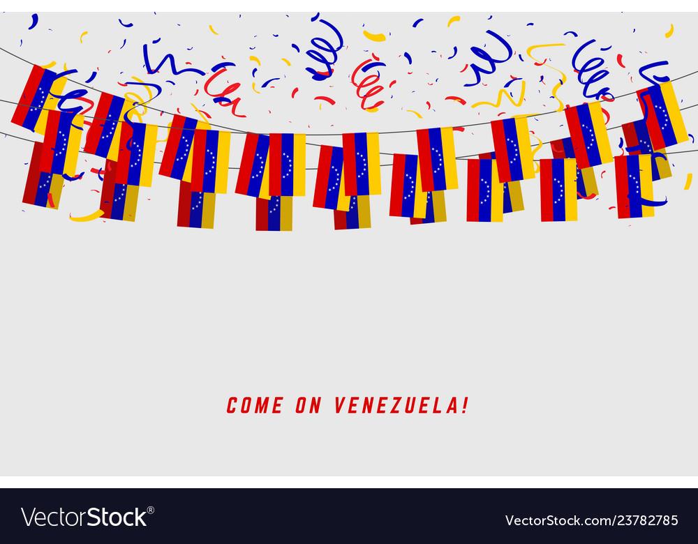 Venezuela garland flag with confetti
