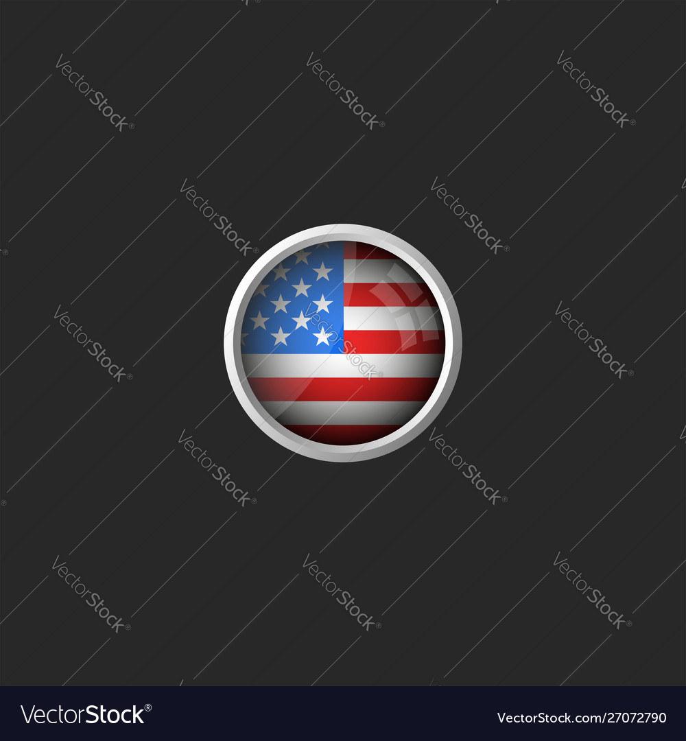 American flag round 3d icon glass material metal
