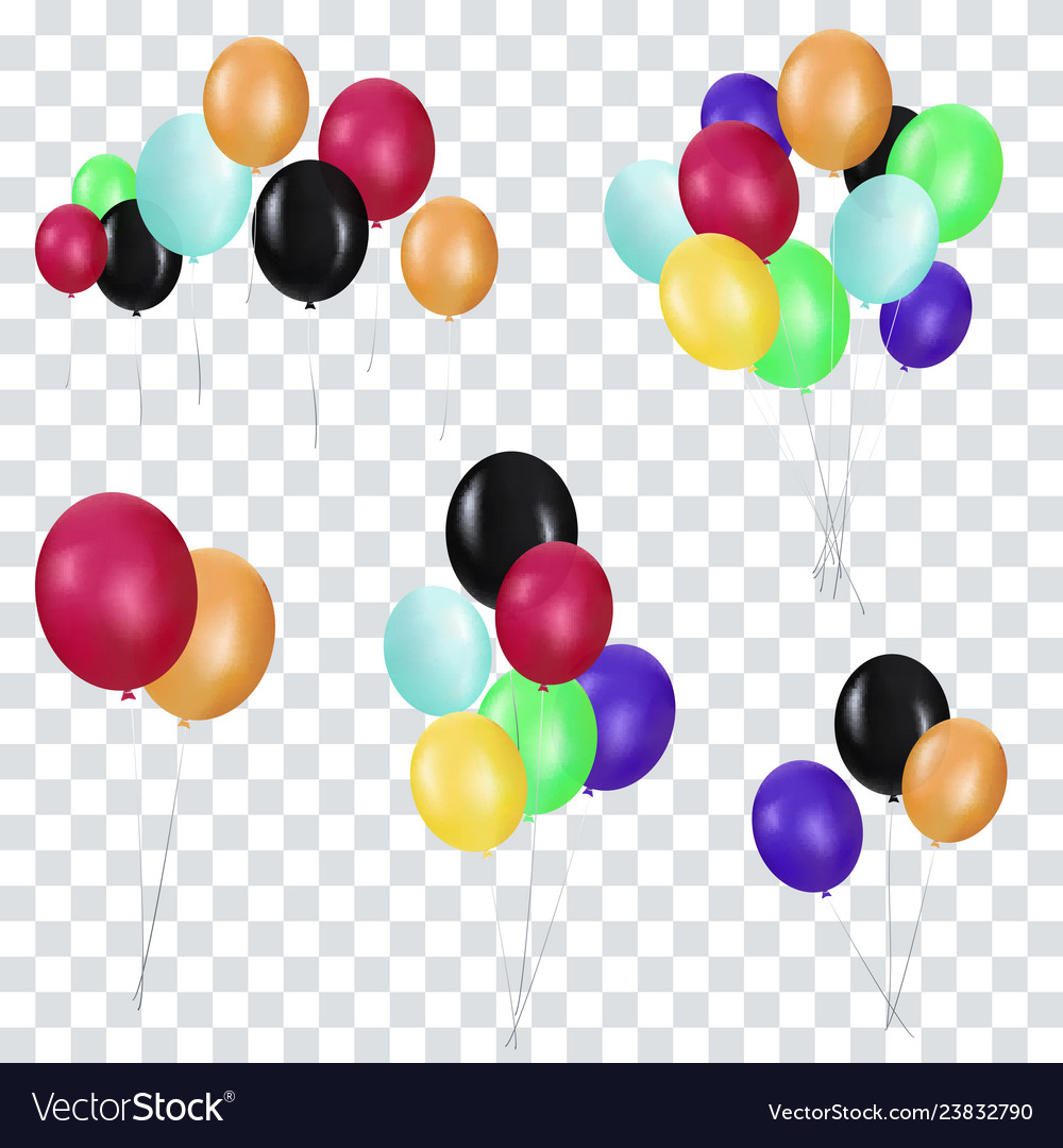 Bunches and groups of colorful helium balloons
