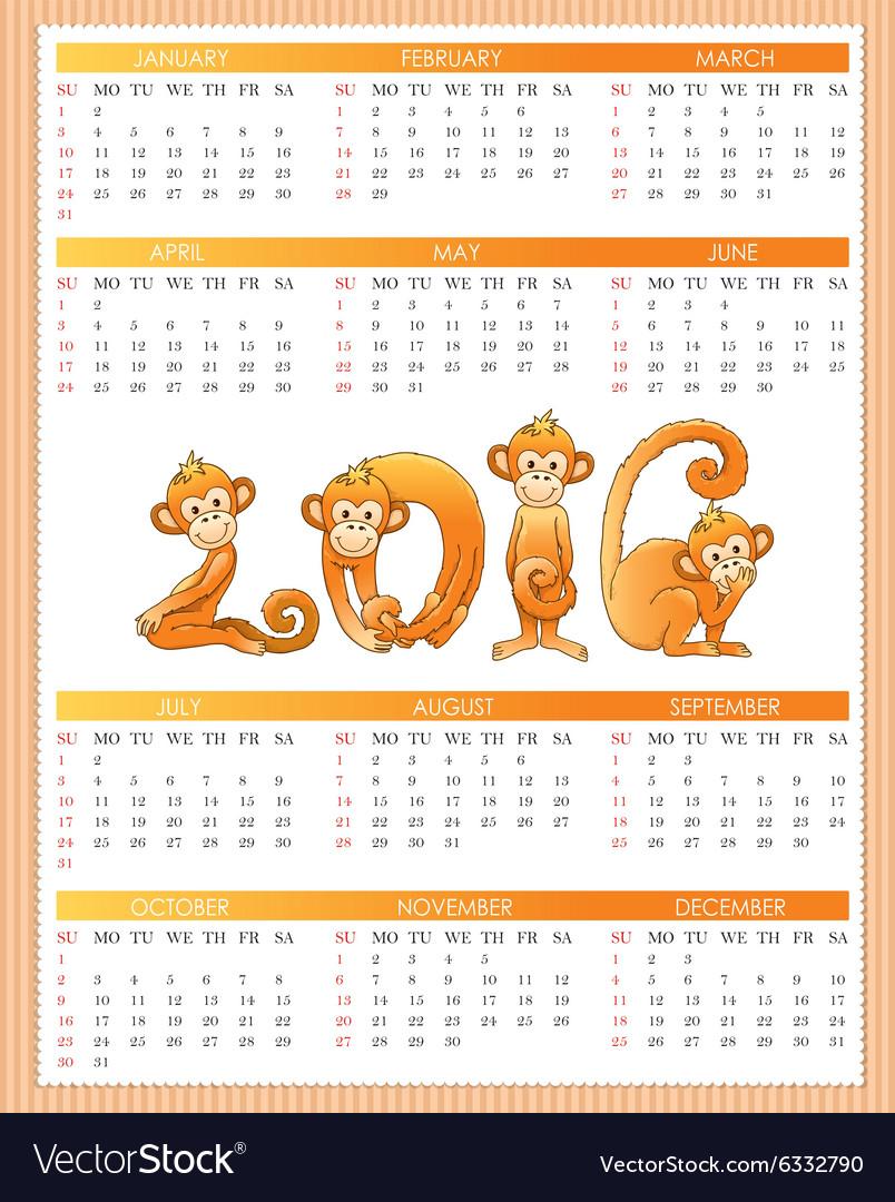 Calendar year monkey