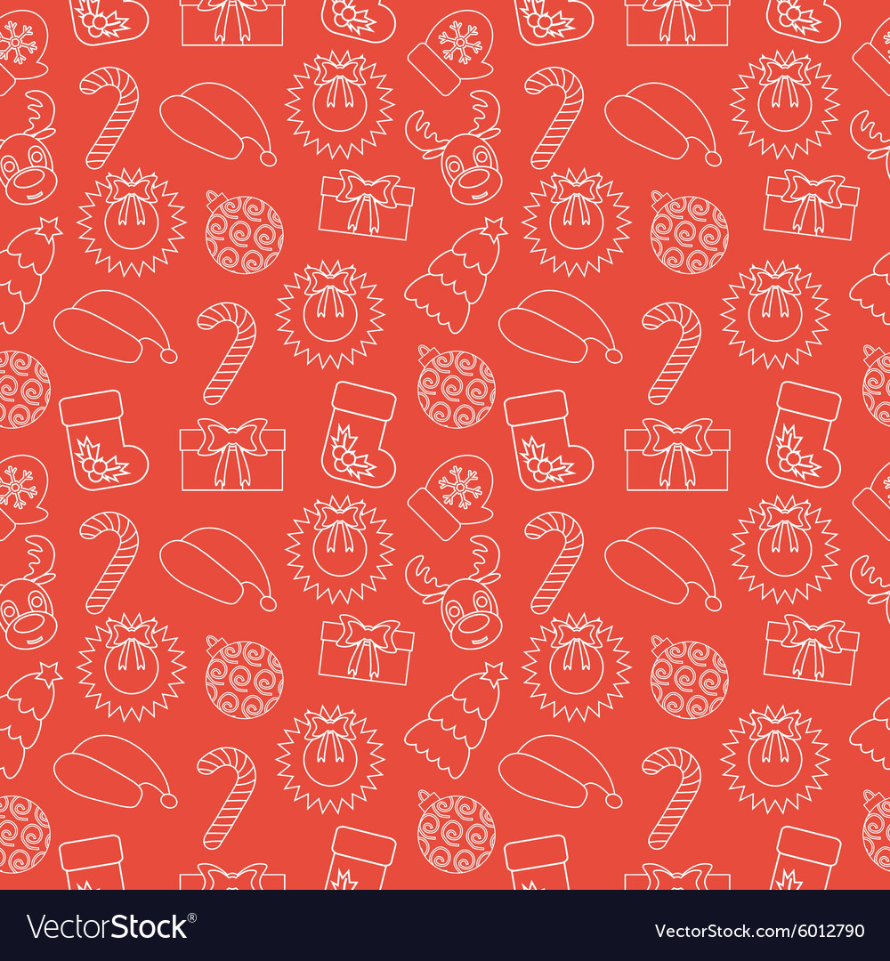 Christmas Seamless doodle background Red