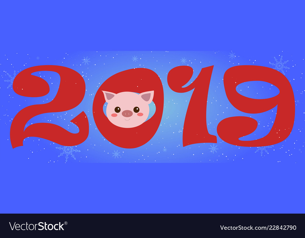 Creative postcard for new 2019 year with cute pig