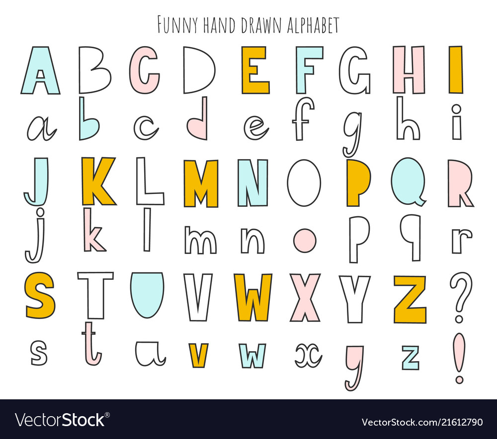 Cute hand drawn alphabet letters set