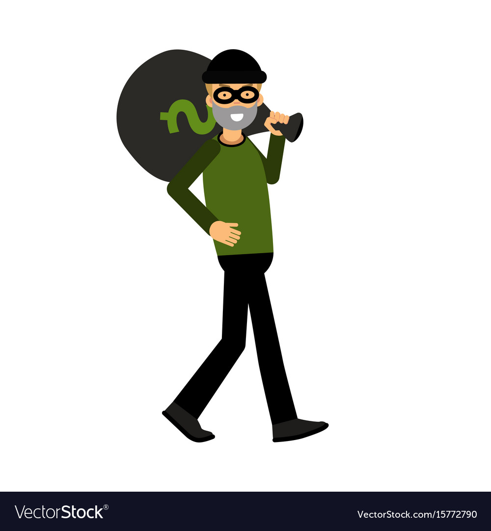 Masked thief character carrying a big money bag