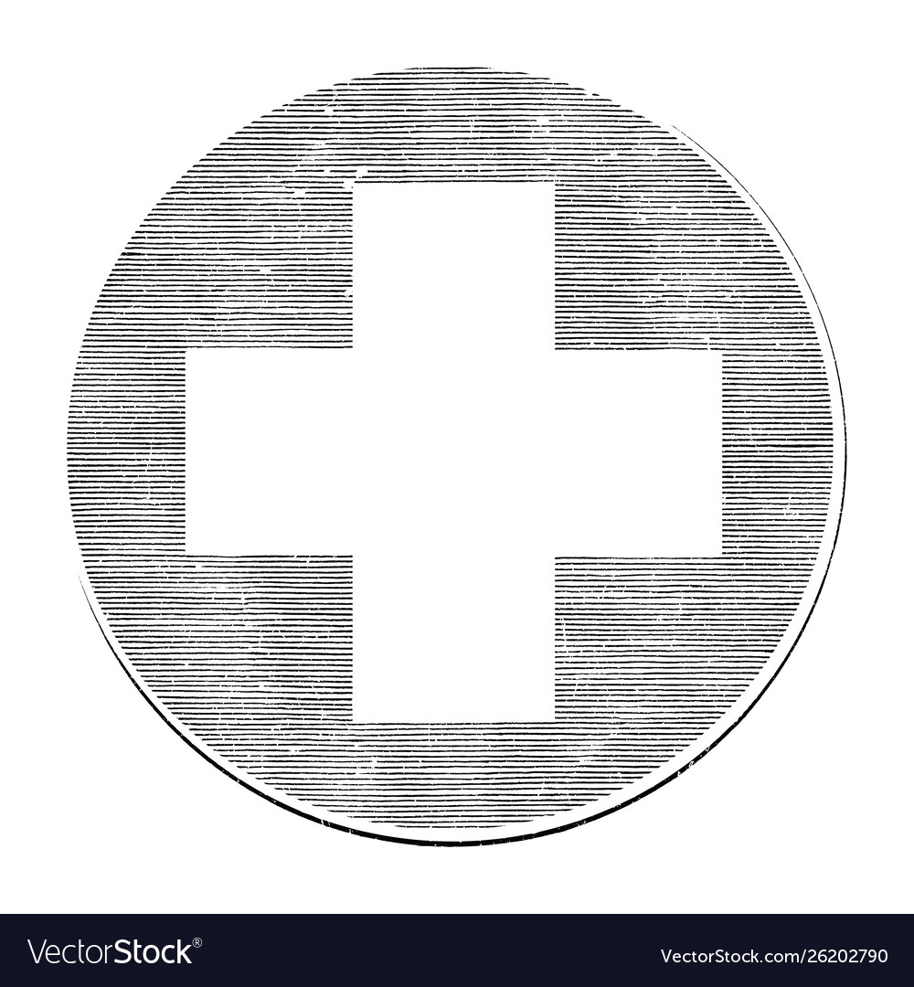 Medical cross hand draw vintage style black and