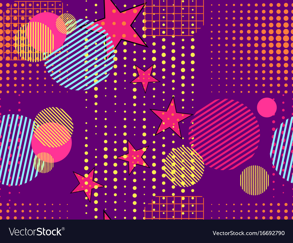 Memphis seamless pattern pop art dotted and
