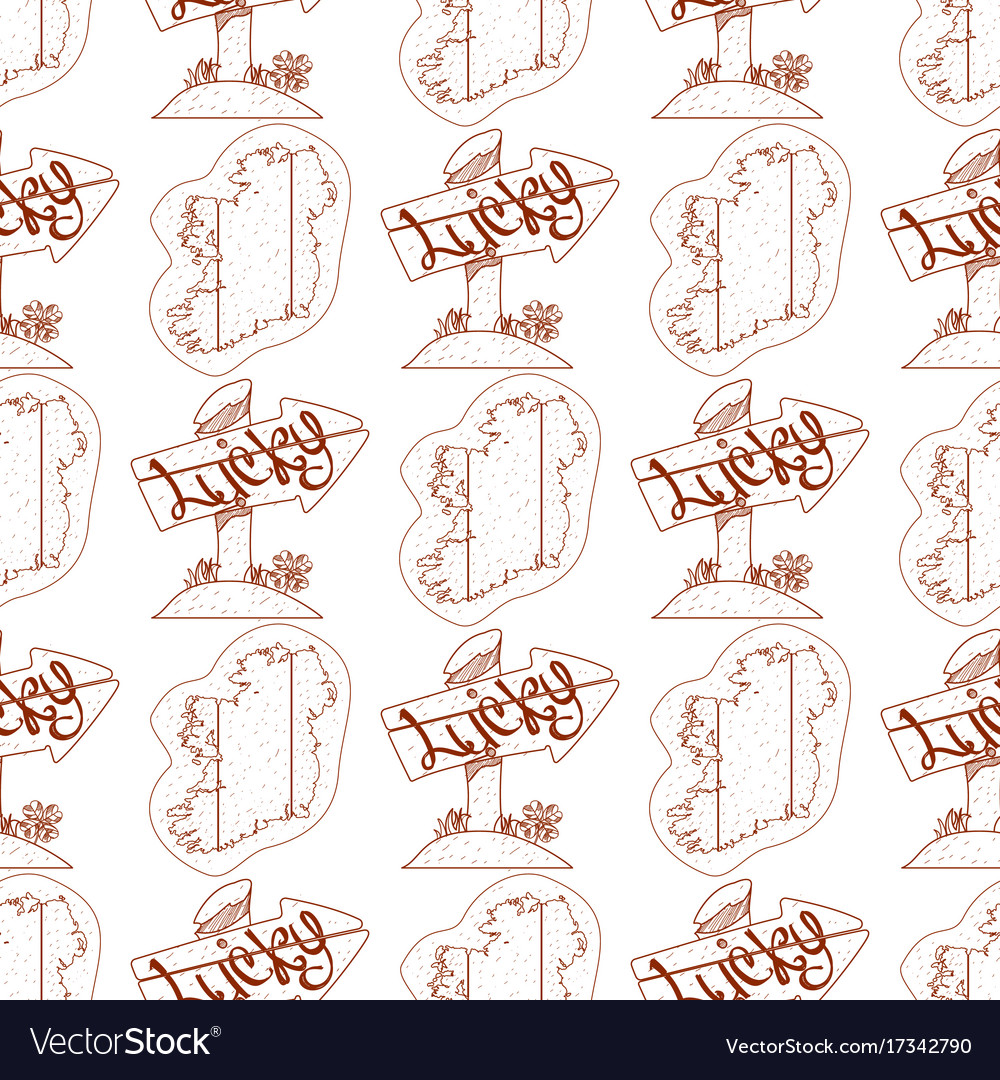 Outline Map Of Ireland.Seamless Pattern With Outline Map Of Ireland And Vector Image
