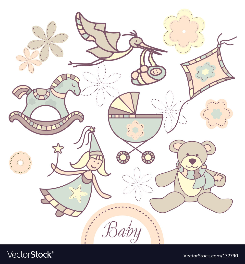 Set of different baby products vector image