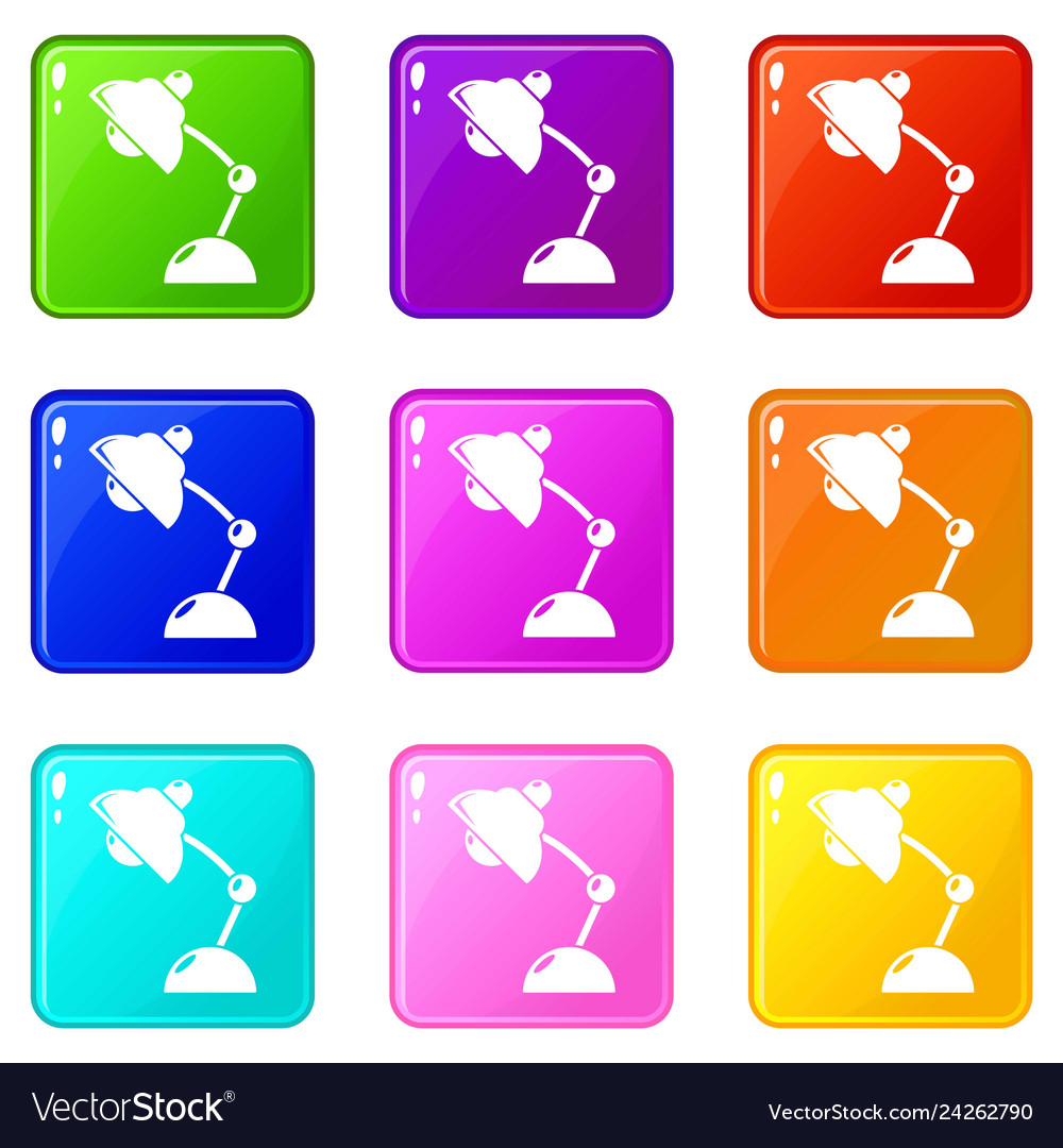 Table lamp icons set 9 color collection