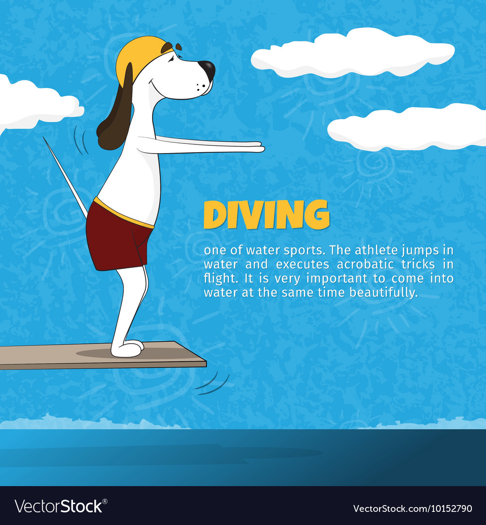 The ridiculous cartoon dog jumps in water from vector image