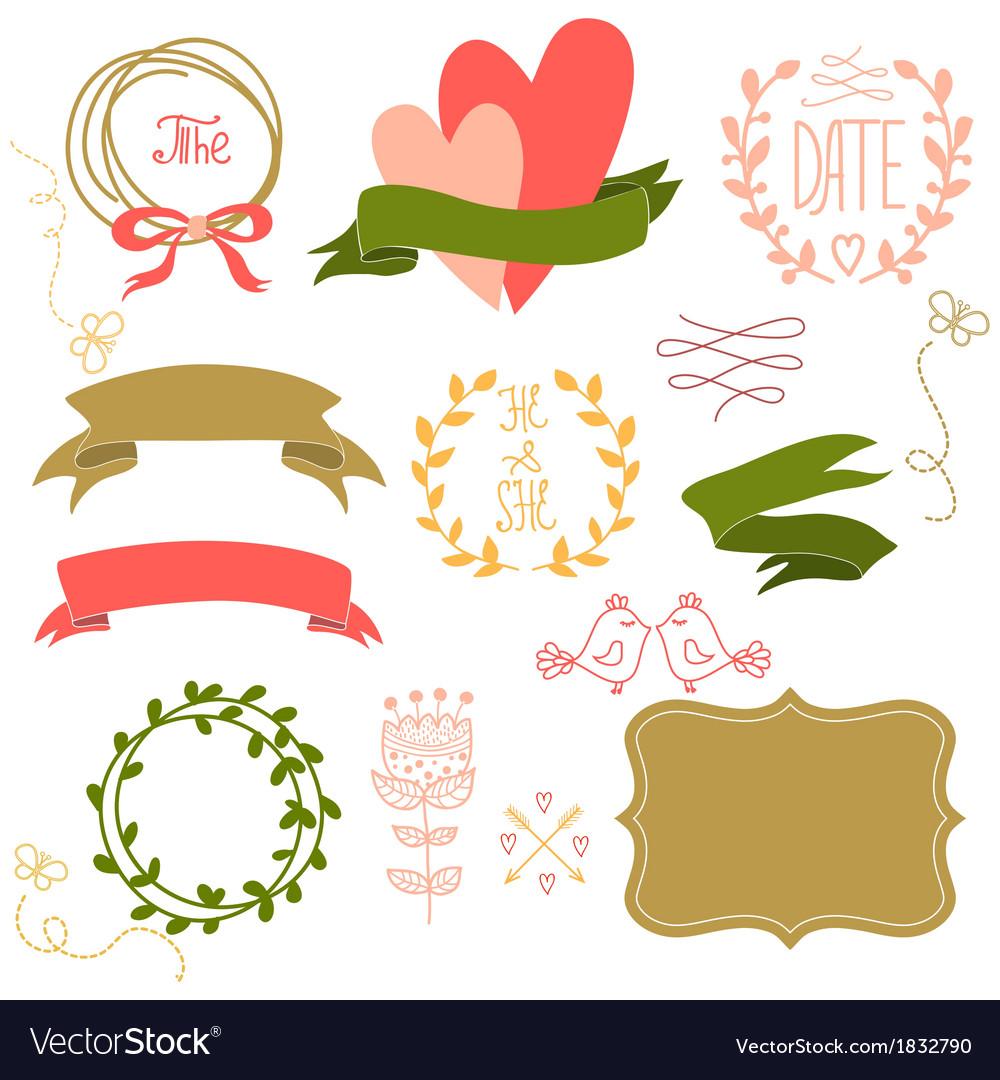 Wedding graphic set wreath flowers arrows
