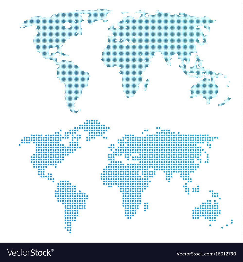 World Map In Dots Blue Color Royalty Free Vector Image - World map in blue color