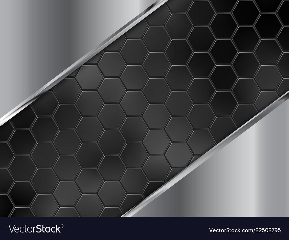 Abstract silver and black background with hexagons