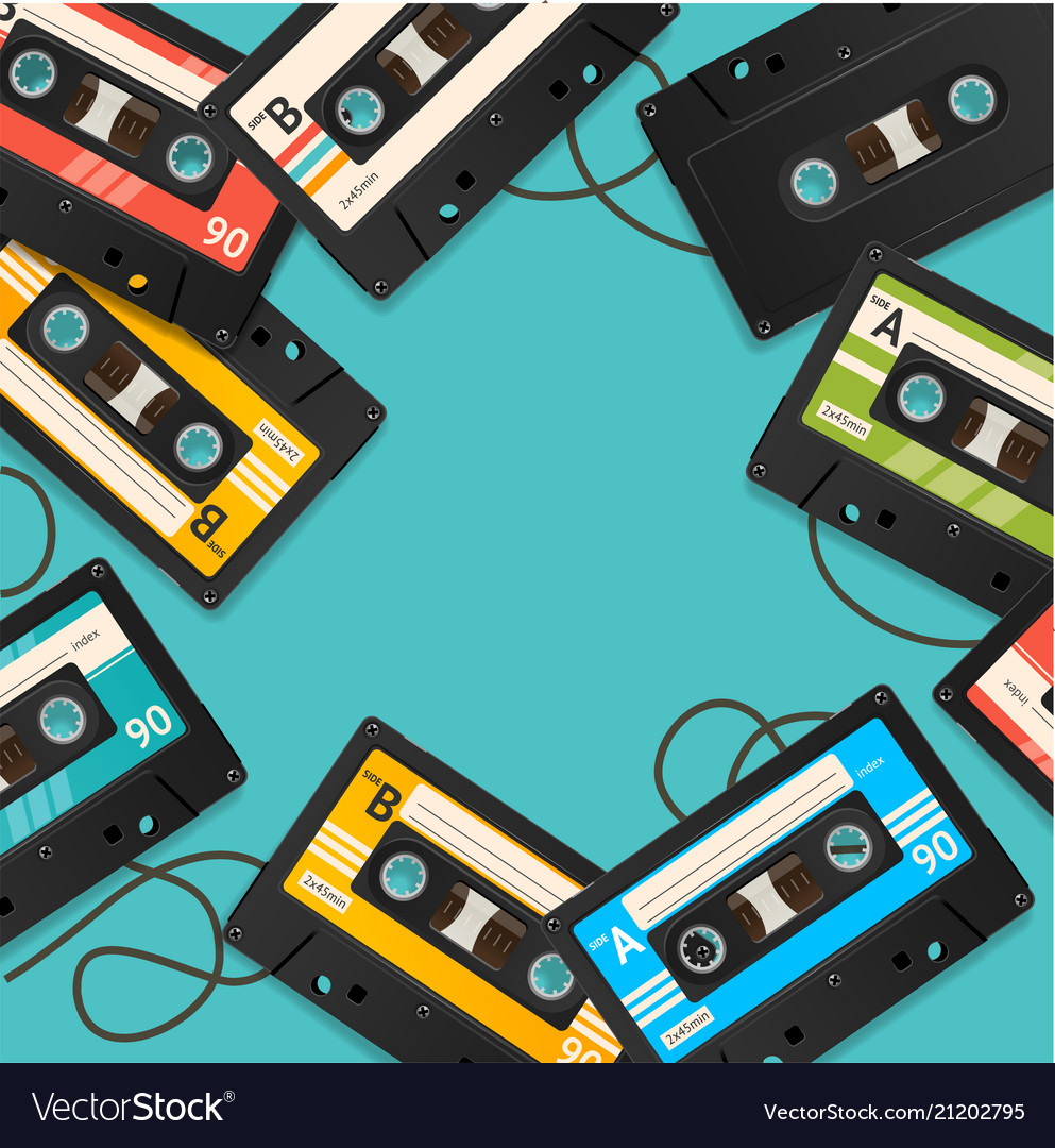 Audio cassette tape background card