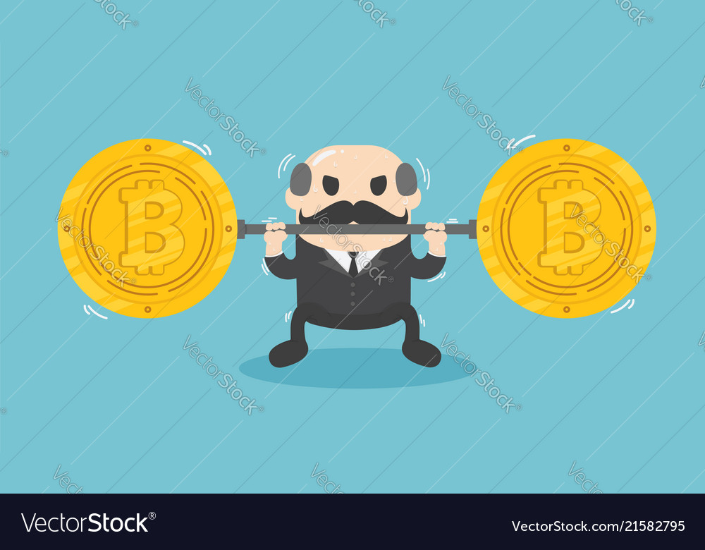Businessman lifts coin very heavy fall of bitcoin