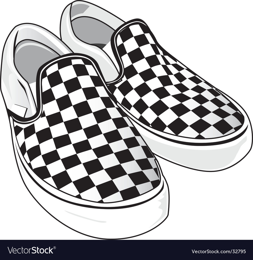 Checkered vans vector image