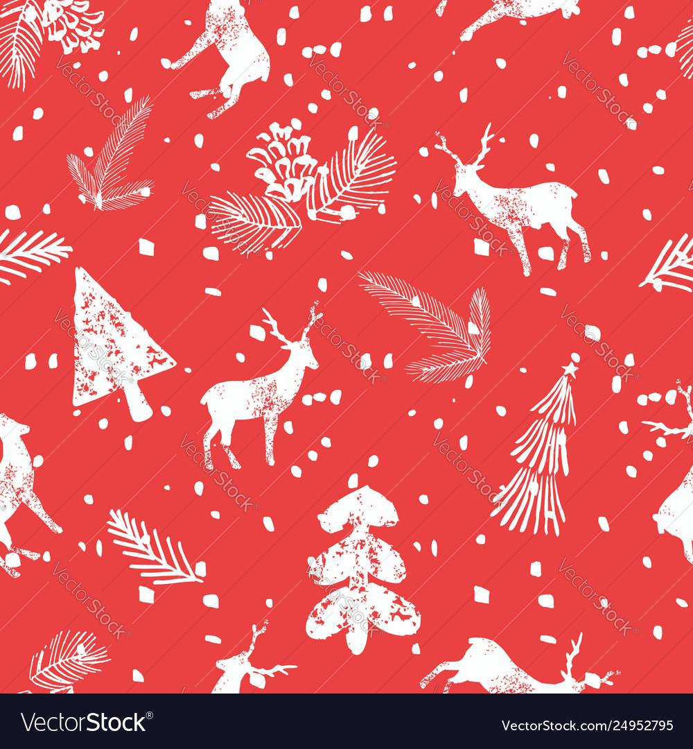 Christmas deer spruce seamless pattern