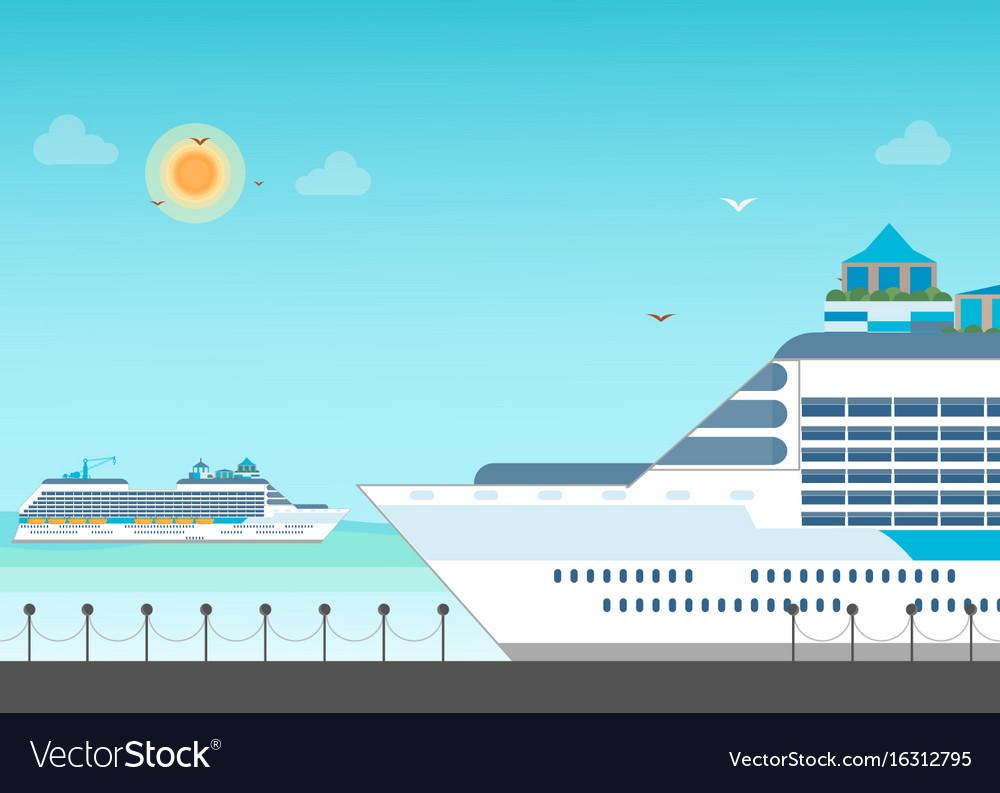 Cruise ship anchored at sea port