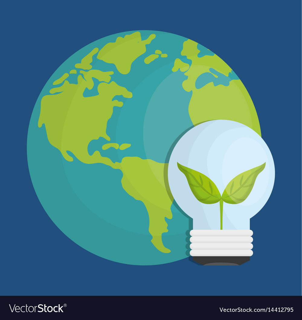 Earth planet and bulb light icon vector image