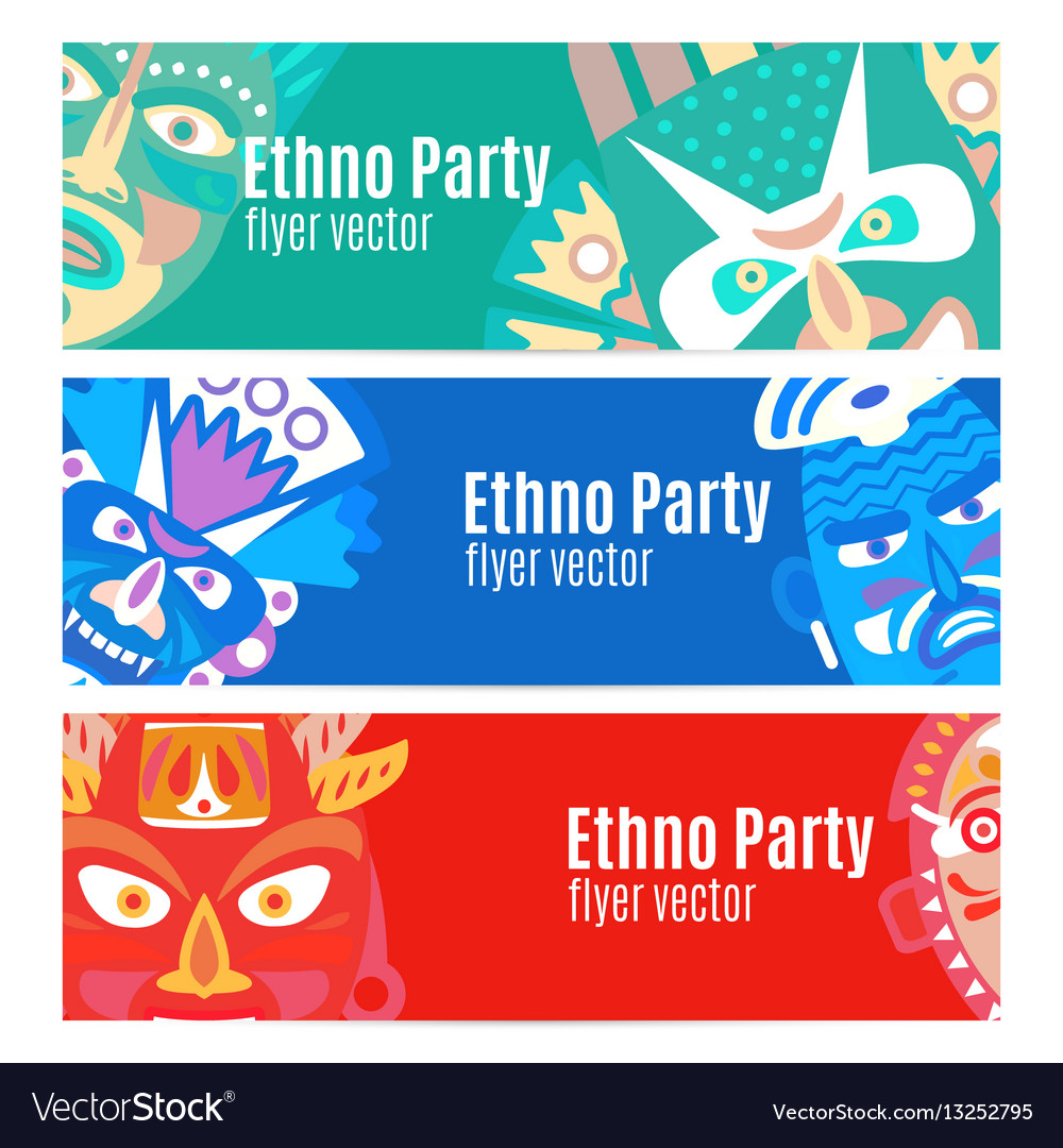 Ethno party flyers with masks vector image