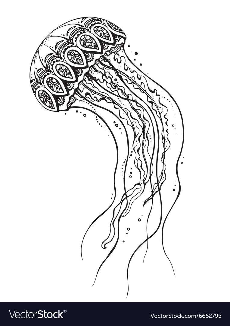 Hand drawn jellyfish in black and white doodle